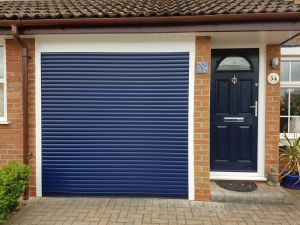 Remote control roller garage door & blue composite door