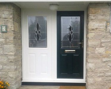 Black Composite door with matching sidescreen