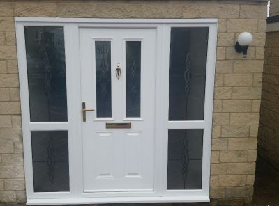 White composite door with PVCu sidescreens