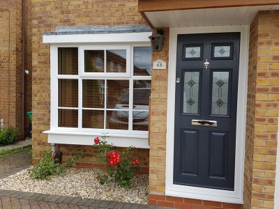 White PVCu Window &  Antracite Grey Composite door