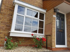 White PVCu Window with Anthracite Grey Composite door